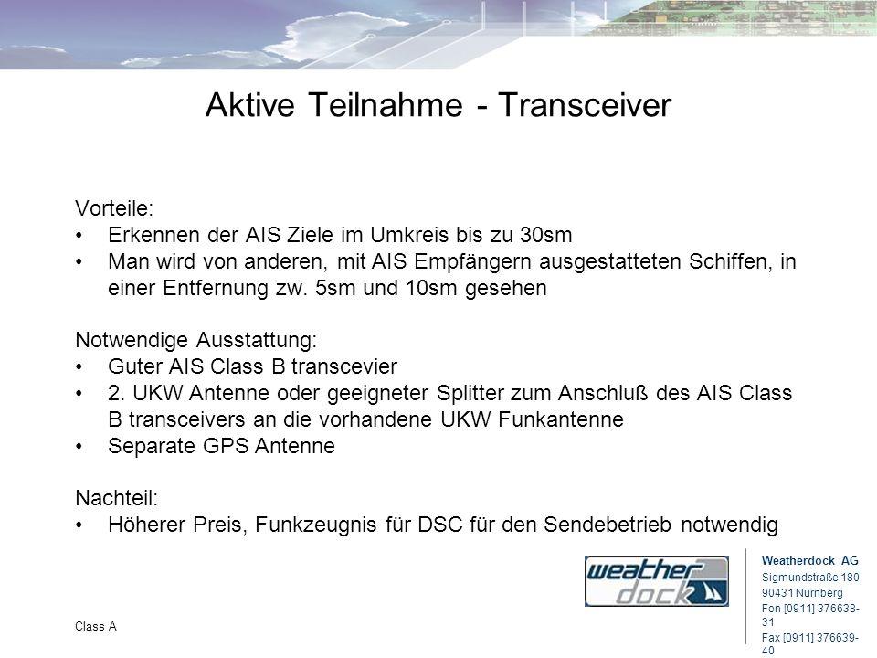 Weatherdock AG Sigmundstraße 180 90431 Nürnberg Fon [0911] 376638- 31 Fax [0911] 376639- 40 Class A Aktive Teilnahme - Transceiver Vorteile: Erkennen