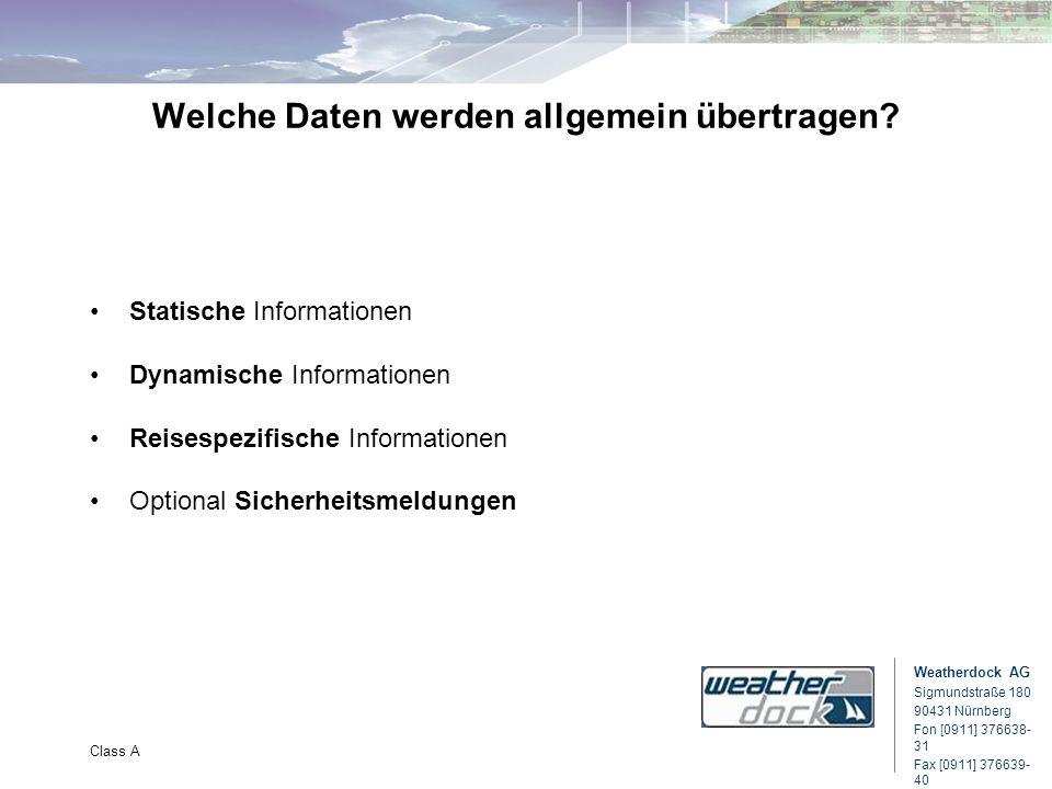 Weatherdock AG Sigmundstraße 180 90431 Nürnberg Fon [0911] 376638- 31 Fax [0911] 376639- 40 Class A Welche Daten werden allgemein übertragen? Statisch