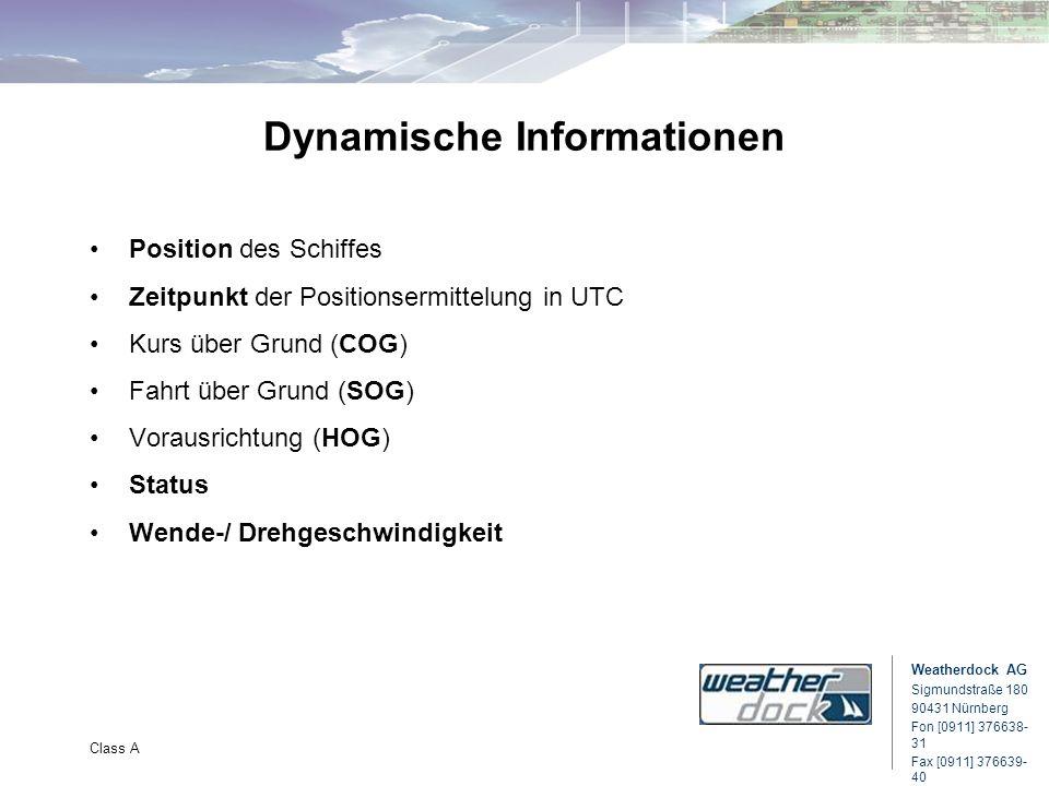 Weatherdock AG Sigmundstraße 180 90431 Nürnberg Fon [0911] 376638- 31 Fax [0911] 376639- 40 Class A Dynamische Informationen Position des Schiffes Zei