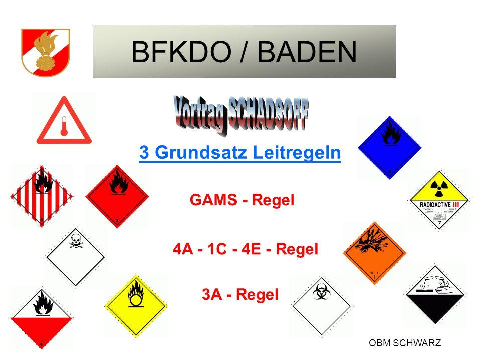 BFKDO / BADEN OBM SCHWARZ Hinweismöglichkeiten auf die verschiedenen Gefahren für Fahrzeuge: Gefahren Nr.
