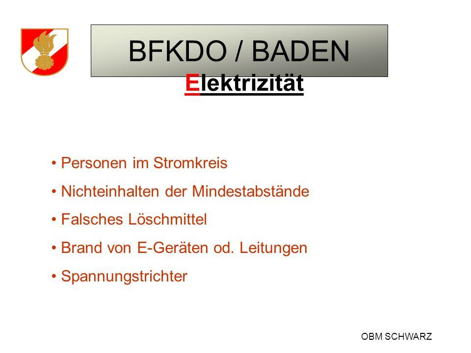 BFKDO / BADEN OBM SCHWARZ Elektrizität Personen im Stromkreis Nichteinhalten der Mindestabstände Falsches Löschmittel Brand von E-Geräten od. Leitunge