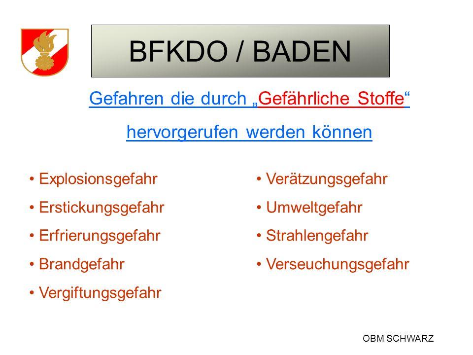 BFKDO / BADEN OBM SCHWARZ Gefahren die durch Gefährliche Stoffe hervorgerufen werden können Explosionsgefahr Erstickungsgefahr Erfrierungsgefahr Brand