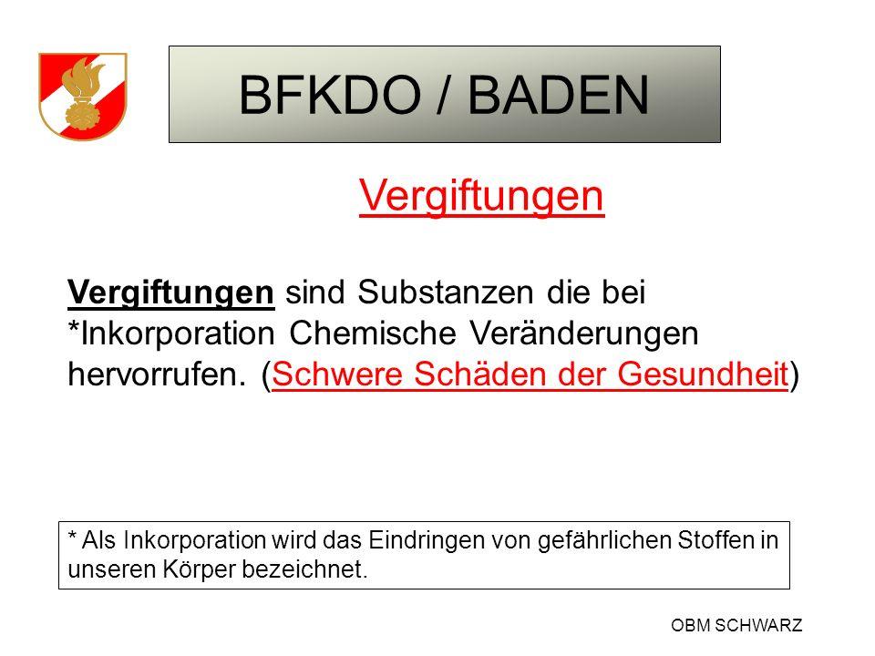 BFKDO / BADEN OBM SCHWARZ Vergiftungen Vergiftungen sind Substanzen die bei *Inkorporation Chemische Veränderungen hervorrufen. (Schwere Schäden der G