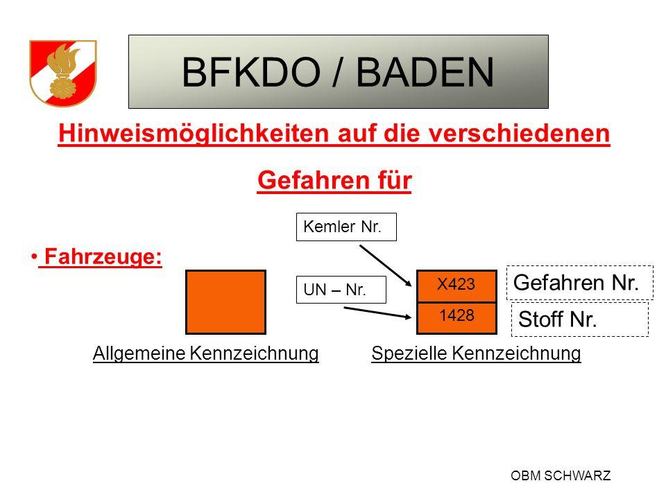 BFKDO / BADEN OBM SCHWARZ Hinweismöglichkeiten auf die verschiedenen Gefahren für Fahrzeuge: Gefahren Nr. Stoff Nr. X423 1428 Allgemeine Kennzeichnung