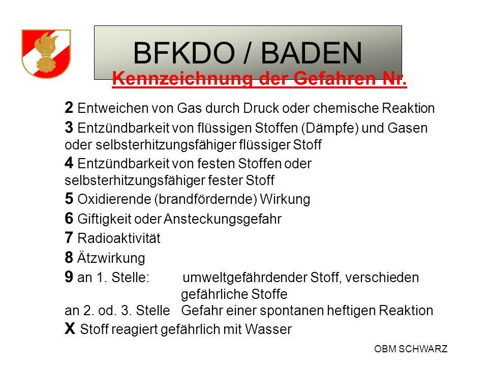BFKDO / BADEN OBM SCHWARZ Kennzeichnung der Gefahren Nr. 2 Entweichen von Gas durch Druck oder chemische Reaktion 3 Entzündbarkeit von flüssigen Stoff