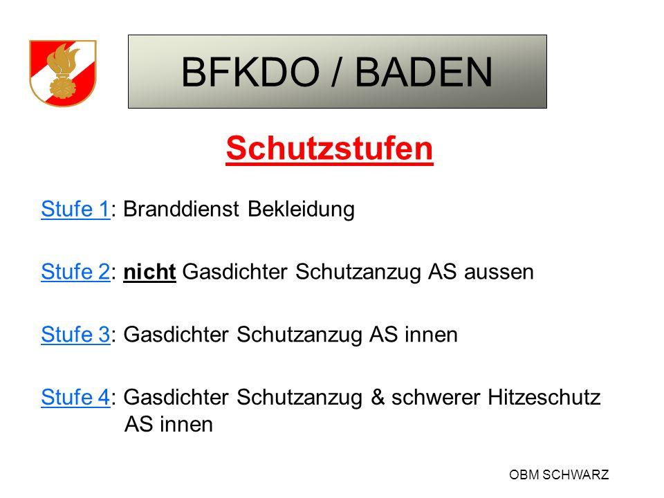 BFKDO / BADEN OBM SCHWARZ Schutzstufen Stufe 1: Branddienst Bekleidung Stufe 2: nicht Gasdichter Schutzanzug AS aussen Stufe 3: Gasdichter Schutzanzug