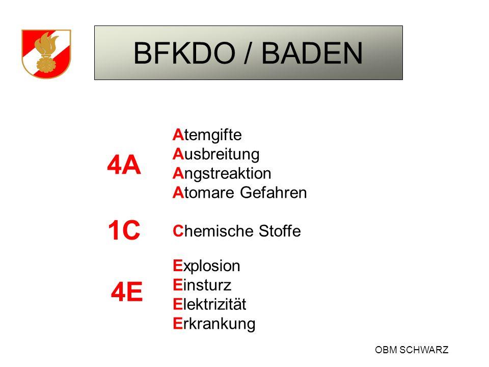 BFKDO / BADEN OBM SCHWARZ Atemgifte Fest – Flüssig - Gasförmig Brandrauch Gärgase Fäulnisgase Düngemittelzersetzung Freiwerden von gefährlichen Stoffen Sauerstoffmangel