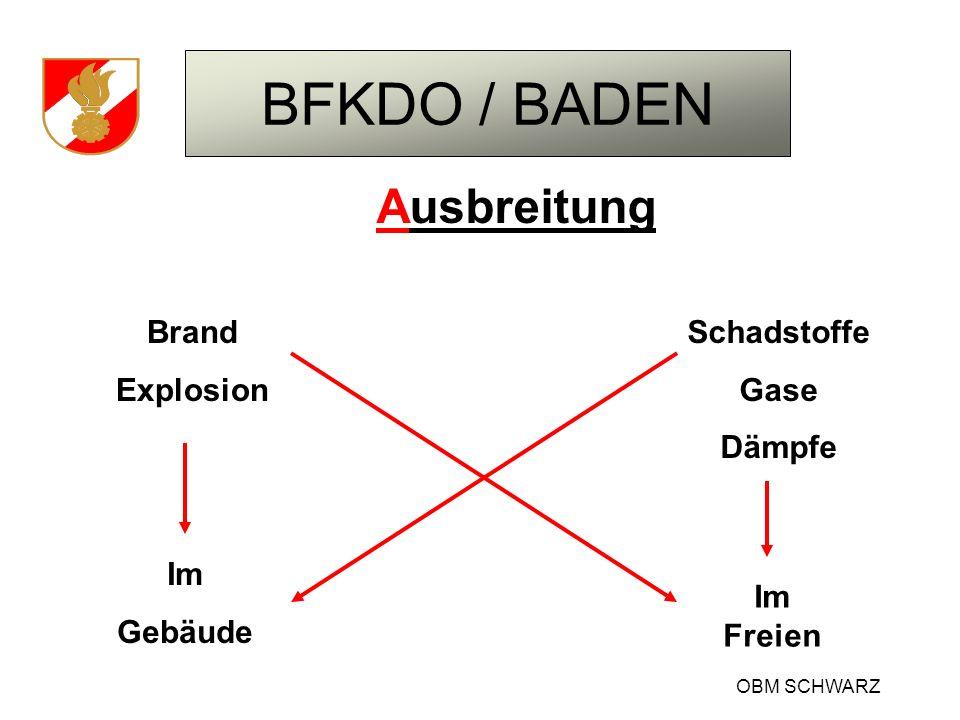 BFKDO / BADEN OBM SCHWARZ Ausbreitung Brand Explosion Schadstoffe Gase Dämpfe Im Gebäude Im Freien