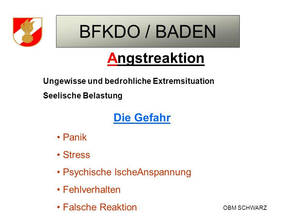 BFKDO / BADEN OBM SCHWARZ Angstreaktion Ungewisse und bedrohliche Extremsituation Seelische Belastung Die Gefahr Panik Stress Psychische lscheAnspannu