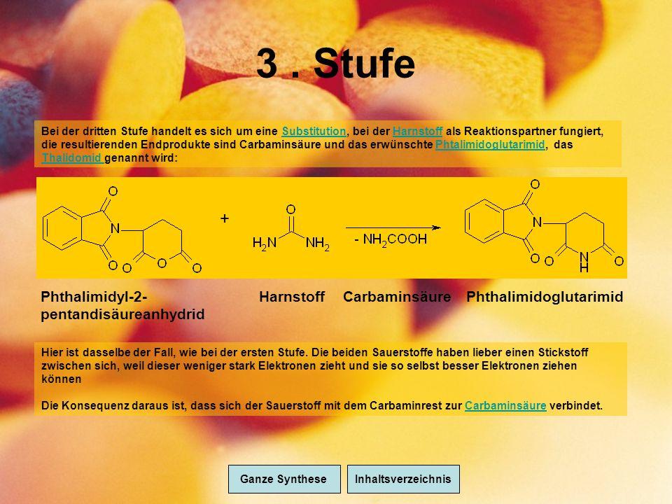 3. Stufe + PhthalimidoglutarimidHarnstoffCarbaminsäurePhthalimidyl-2- pentandisäureanhydrid Bei der dritten Stufe handelt es sich um eine Substitution