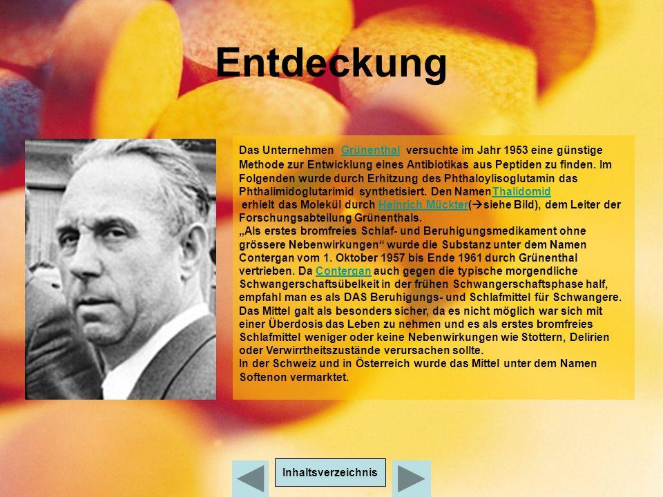 Entdeckung Inhaltsverzeichnis Das Unternehmen Grünenthal versuchte im Jahr 1953 eine günstige Methode zur Entwicklung eines Antibiotikas aus Peptiden zu finden.