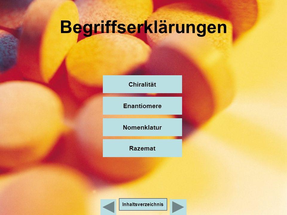 Begriffserklärungen Chiralität Enantiomere Nomenklatur Inhaltsverzeichnis Razemat