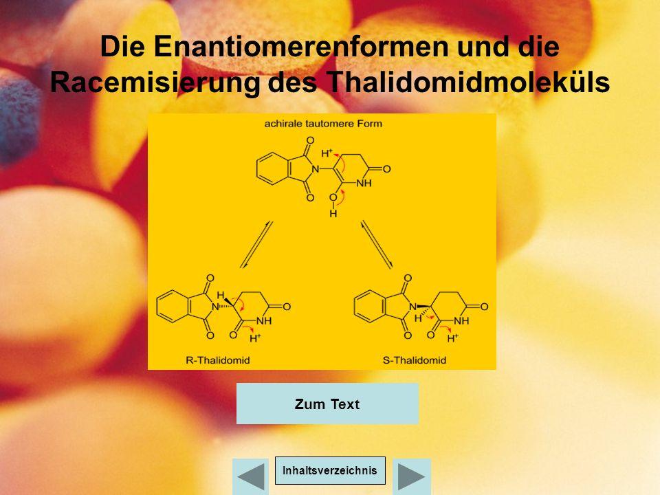 Die Enantiomerenformen und die Racemisierung des Thalidomidmoleküls Inhaltsverzeichnis Zum Text