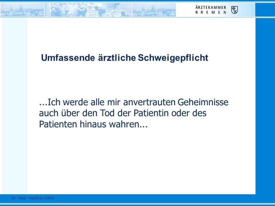 ...Ich werde alle mir anvertrauten Geheimnisse auch über den Tod der Patientin oder des Patienten hinaus wahren... Dr. Ursula Auerswald :: Vizepräside