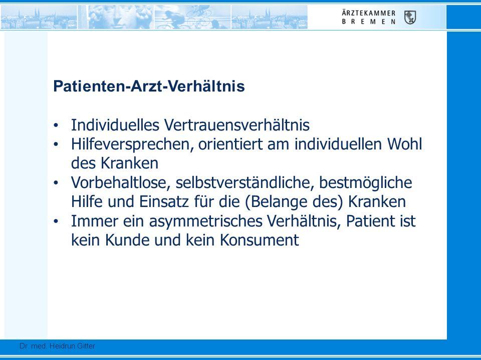 Dr. Ursula Auerswald :: Vizepräsidentin der Bundesärztekammer Dr. med. Heidrun Gitter Patienten-Arzt-Verhältnis Individuelles Vertrauensverhältnis Hil