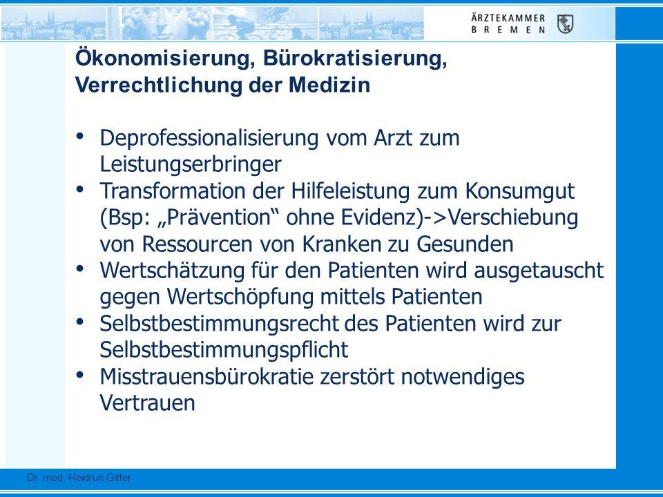 Dr. Ursula Auerswald :: Vizepräsidentin der Bundesärztekammer Dr. med. Heidrun Gitter Ökonomisierung, Bürokratisierung, Verrechtlichung der Medizin De