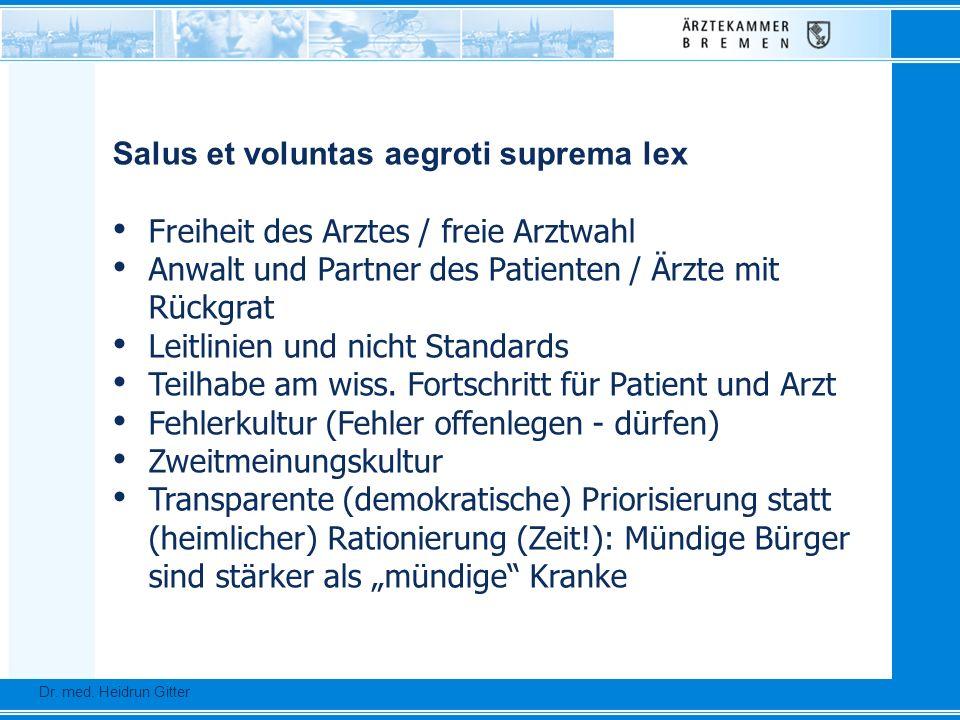 Dr. Ursula Auerswald :: Vizepräsidentin der Bundesärztekammer Dr. med. Heidrun Gitter Salus et voluntas aegroti suprema lex Freiheit des Arztes / frei