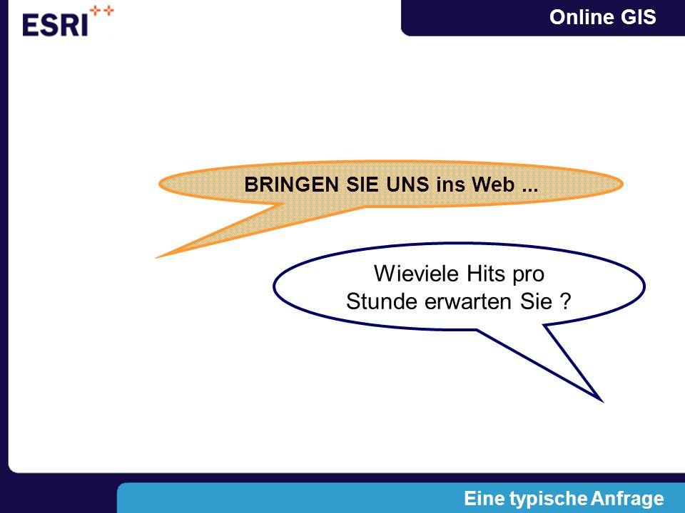 Online GIS BRINGEN SIE UNS ins Web... Wieviele Hits pro Stunde erwarten Sie ? Eine typische Anfrage