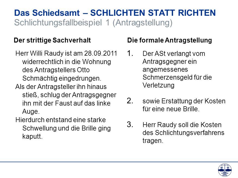 Das Schiedsamt – SCHLICHTEN STATT RICHTEN Schlichtungsfallbeispiel 1 (Antragstellung) Herr Willi Raudy ist am 28.09.2011 widerrechtlich in die Wohnung