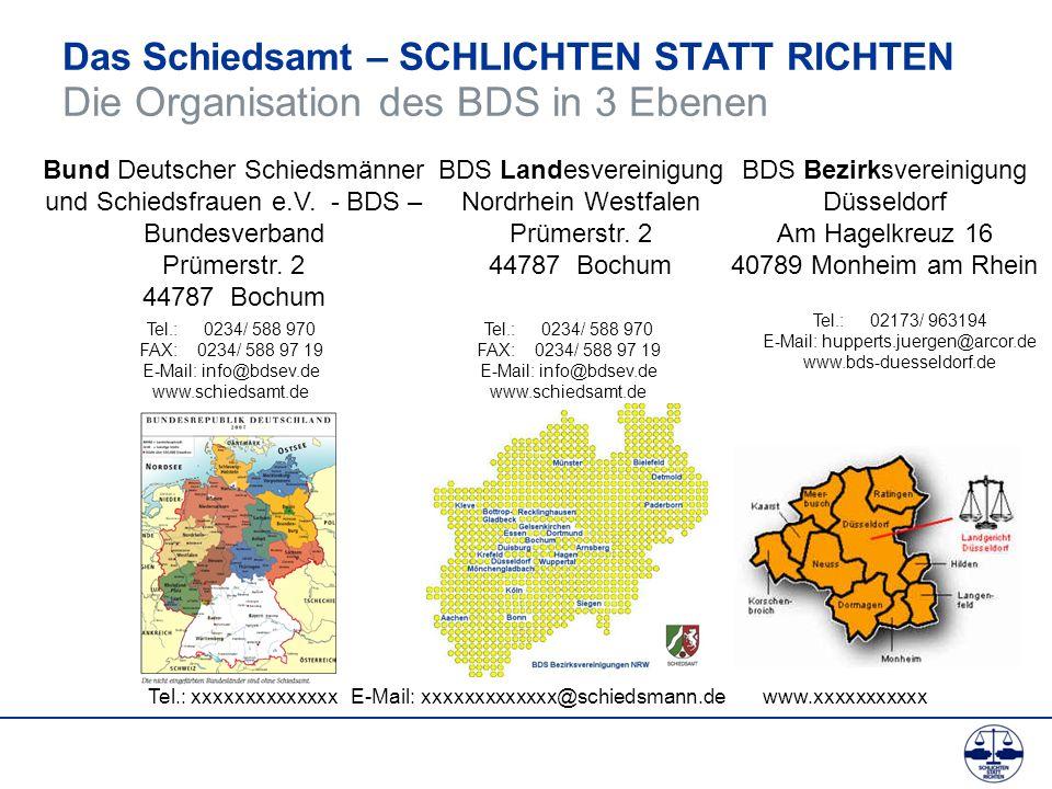 Das Schiedsamt – SCHLICHTEN STATT RICHTEN Die Organisation des BDS in 3 Ebenen Bund Deutscher Schiedsmänner und Schiedsfrauen e.V. - BDS – Bundesverba