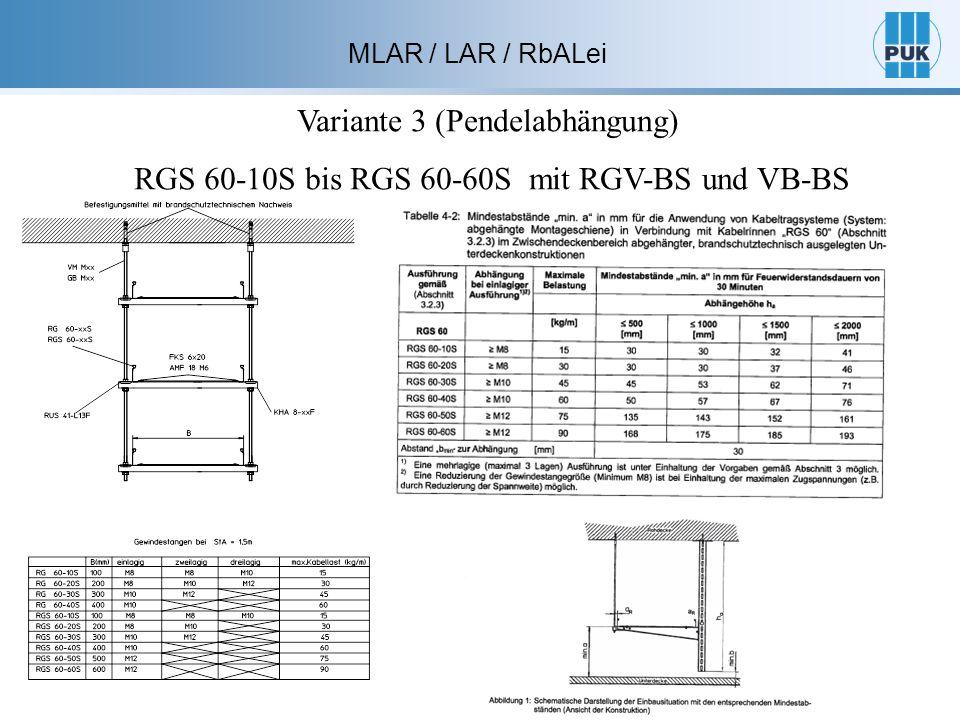 MLAR / LAR / RbALei Variante 3 (Pendelabhängung) RGS 60-10S bis RGS 60-60S mit RGV-BS und VB-BS