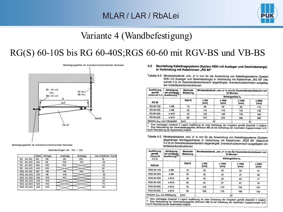 MLAR / LAR / RbALei Variante 4 (Wandbefestigung) RG(S) 60-10S bis RG 60-40S;RGS 60-60 mit RGV-BS und VB-BS