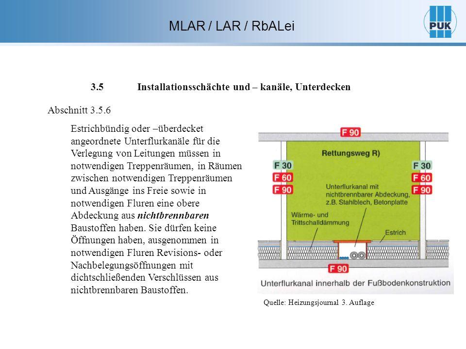 MLAR / LAR / RbALei 3.5 Installationsschächte und – kanäle, Unterdecken Abschnitt 3.5.6 Estrichbündig oder –überdecket angeordnete Unterflurkanäle für