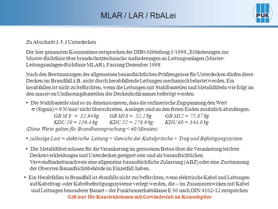 Quelle: Ausarbeitung der Abteilung Brandschutz in der MPA (IBMB) an der TU Braunschweig, Herr Nause und Herrn Mertin veröffentlicht BBaubl Heft 7/99 MLAR / LAR / RbALei