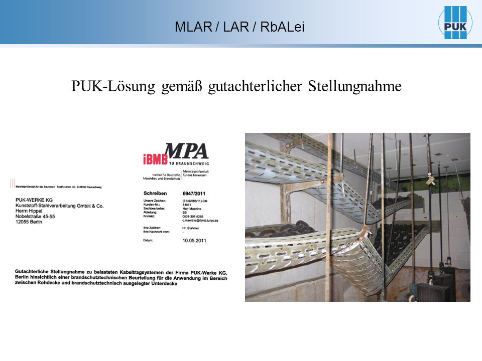 MLAR / LAR / RbALei 3.5 Installationsschächte und – kanäle, Unterdecken Abschnitt 3.5.6 Estrichbündig oder –überdecket angeordnete Unterflurkanäle für die Verlegung von Leitungen müssen in notwendigen Treppenräumen, in Räumen zwischen notwendigen Treppenräumen und Ausgänge ins Freie sowie in notwendigen Fluren eine obere Abdeckung aus nichtbrennbaren Baustoffen haben.