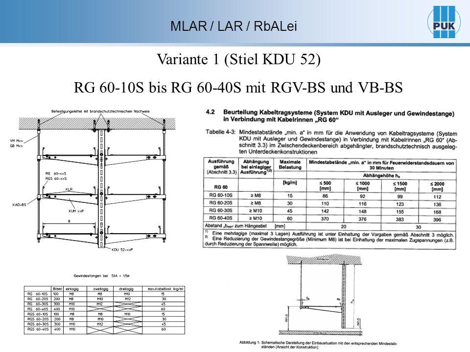 Variante 1 (Stiel KDU 52) RG 60-10S bis RG 60-40S mit RGV-BS und VB-BS