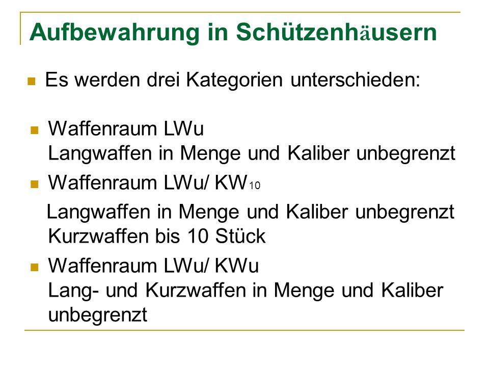Aufbewahrung in Schützenh ä usern Es werden drei Kategorien unterschieden: Waffenraum LWu Langwaffen in Menge und Kaliber unbegrenzt Waffenraum LWu/ KW 10 Langwaffen in Menge und Kaliber unbegrenzt Kurzwaffen bis 10 Stück Waffenraum LWu/ KWu Lang- und Kurzwaffen in Menge und Kaliber unbegrenzt