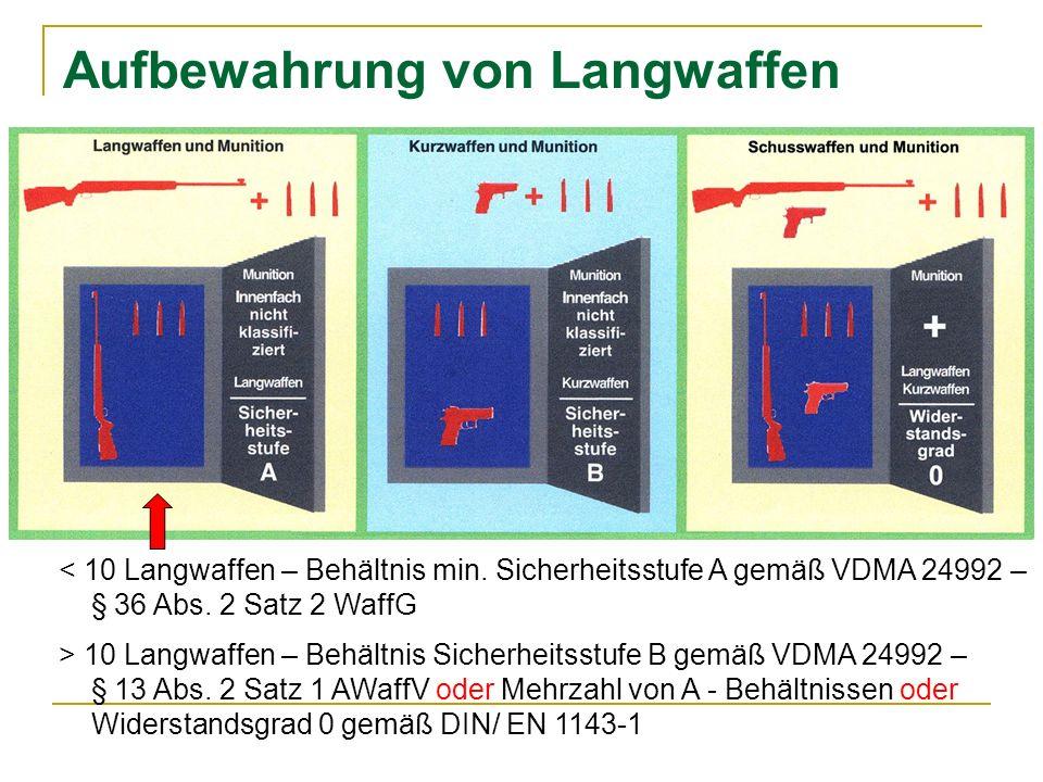 Aufbewahrung von Langwaffen < 10 Langwaffen – Behältnis min.