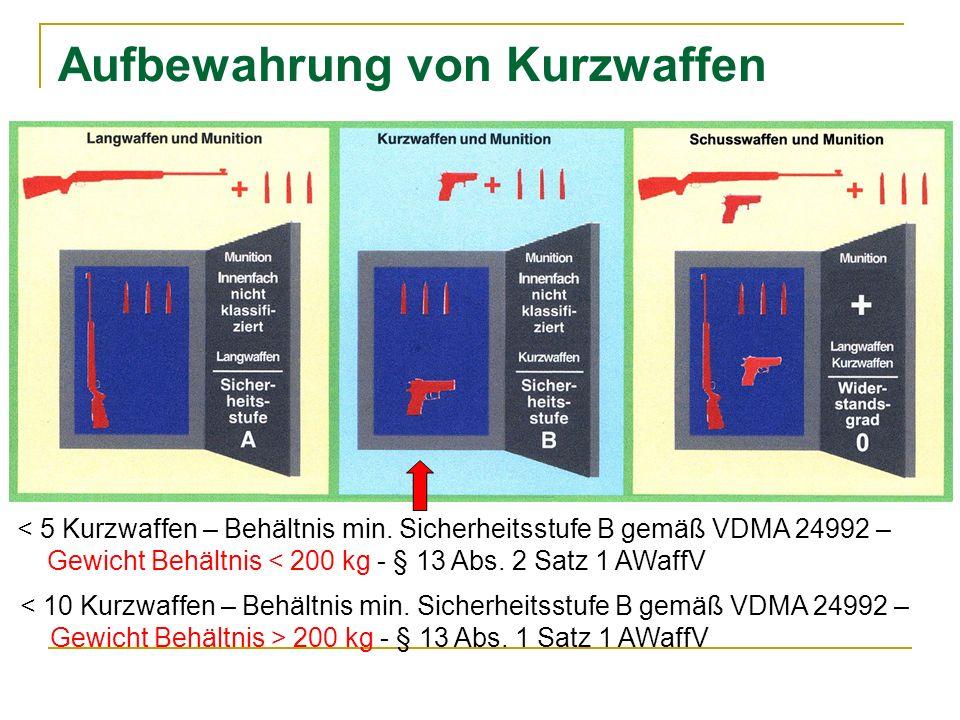 Aufbewahrung von Kurzwaffen 200 kg - § 13 Abs.1 Satz 1 AWaffV < 5 Kurzwaffen – Behältnis min.