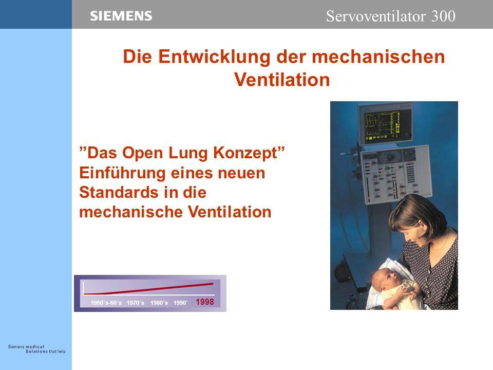 Servoventilator 300 Das Open Lung Konzept Einführung eines neuen Standards in die mechanische Ventilation 1950´s-60´s 1970´s 1980´s 1990´ 1998 Die Entwicklung der mechanischen Ventilation