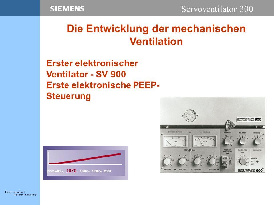 Servoventilator 300 Erster elektronischer Ventilator - SV 900 Erste elektronische PEEP- Steuerung 1950´s-60´s 1970 1980´s 1990´s 2000 Die Entwicklung der mechanischen Ventilation