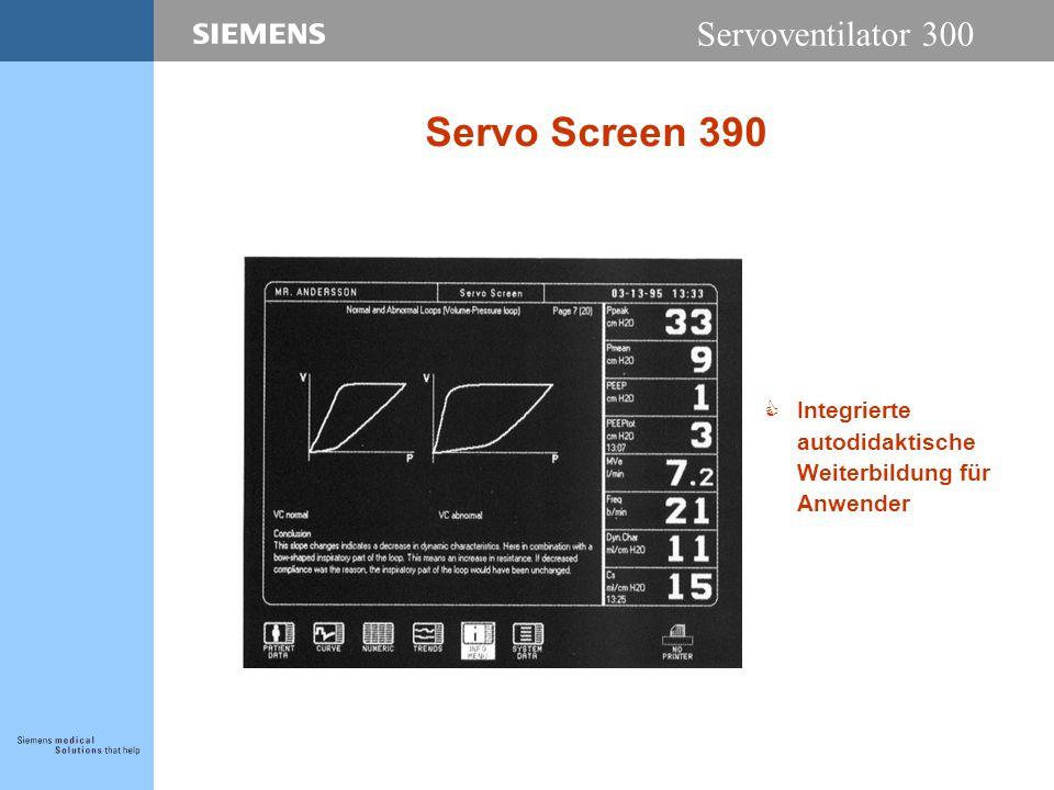 Servoventilator 300 Servo Screen 390 CIntegrierte autodidaktische Weiterbildung für Anwender