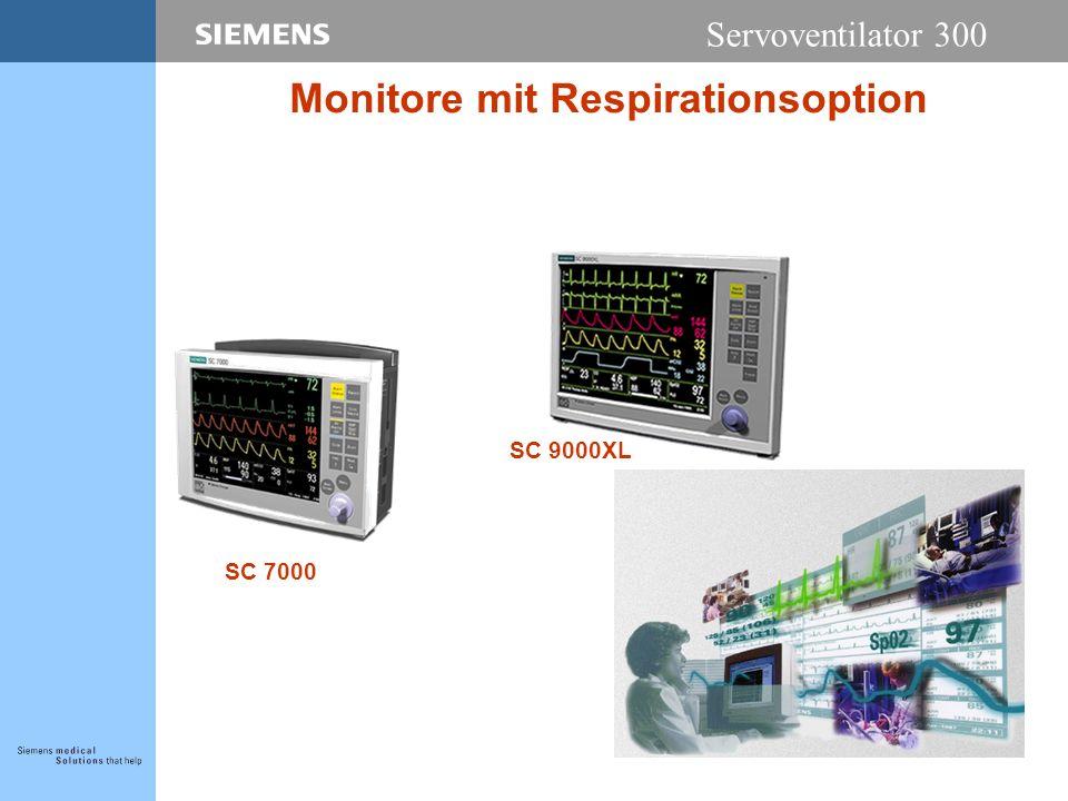 Servoventilator 300 Monitore mit Respirationsoption SC 7000 SC 9000XL