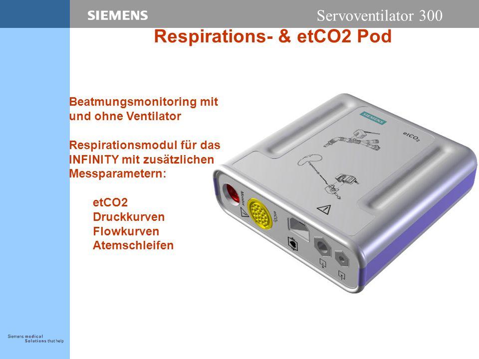 Servoventilator 300 Respirations- & etCO2 Pod Beatmungsmonitoring mit und ohne Ventilator Respirationsmodul für das INFINITY mit zusätzlichen Messparametern: etCO2 Druckkurven Flowkurven Atemschleifen