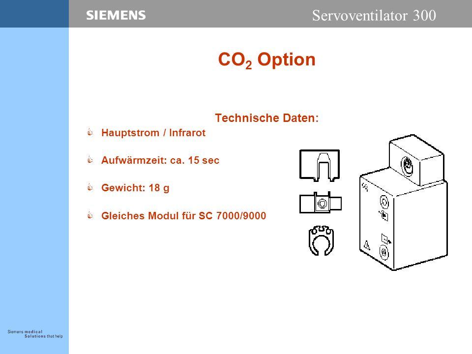Servoventilator 300 CO 2 Option Technische Daten: CHauptstrom / Infrarot CAufwärmzeit: ca.