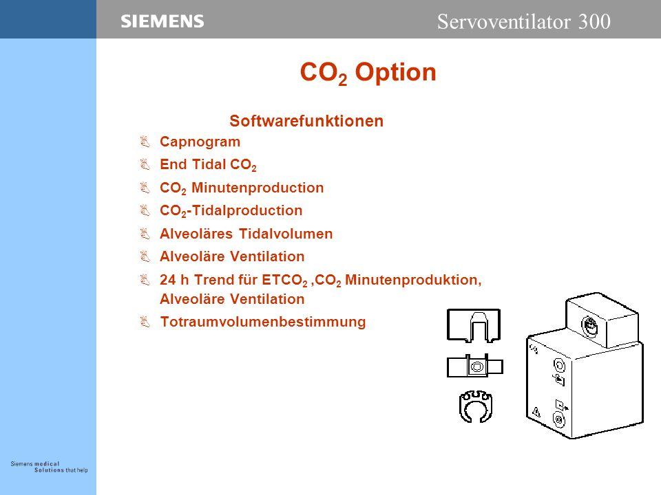 Servoventilator 300 CO 2 Option Softwarefunktionen BCapnogram BEnd Tidal CO 2 BCO 2 Minutenproduction BCO 2 -Tidalproduction BAlveoläres Tidalvolumen