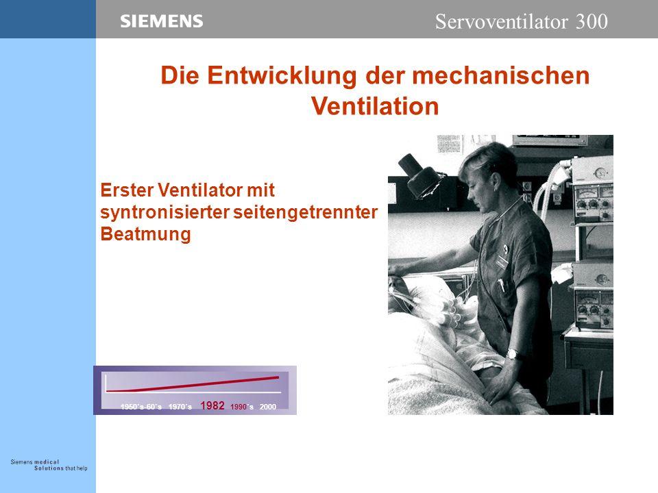 Servoventilator 300 Erster Ventilator mit syntronisierter seitengetrennter Beatmung 1950´s-60´s 1970´s 1982 1990´s 2000 Die Entwicklung der mechanischen Ventilation