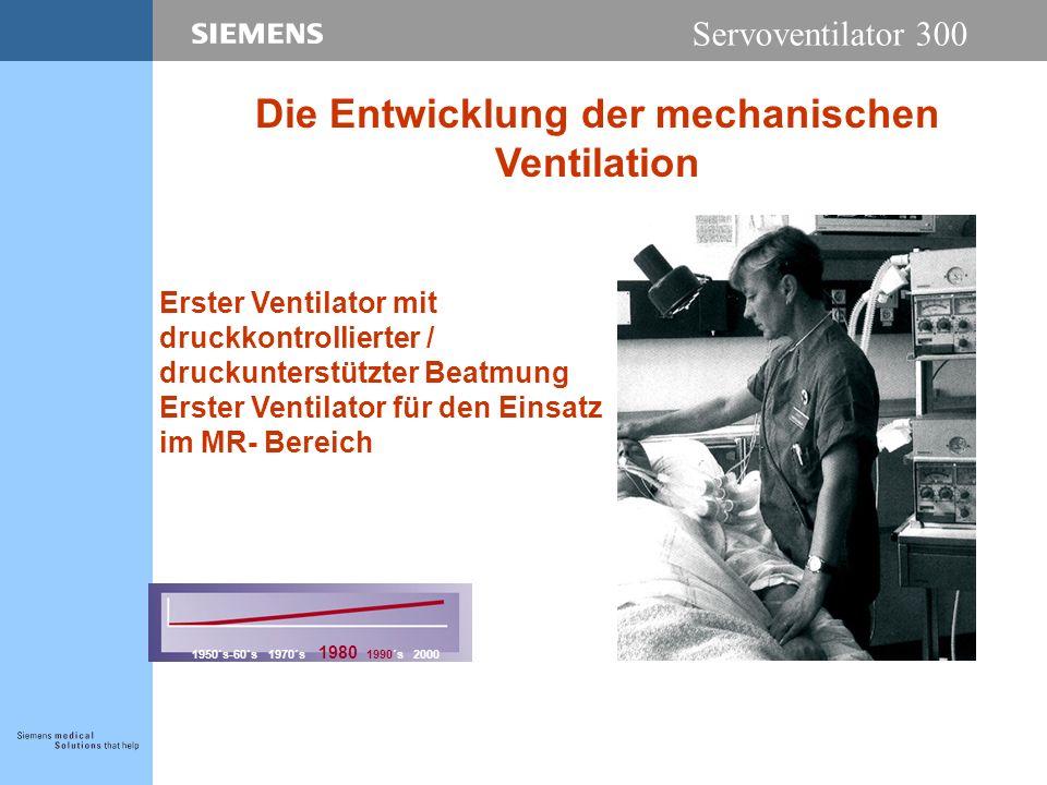Servoventilator 300 Erster Ventilator mit druckkontrollierter / druckunterstützter Beatmung Erster Ventilator für den Einsatz im MR- Bereich 1950´s-60´s 1970´s 1980 1990´s 2000 Die Entwicklung der mechanischen Ventilation