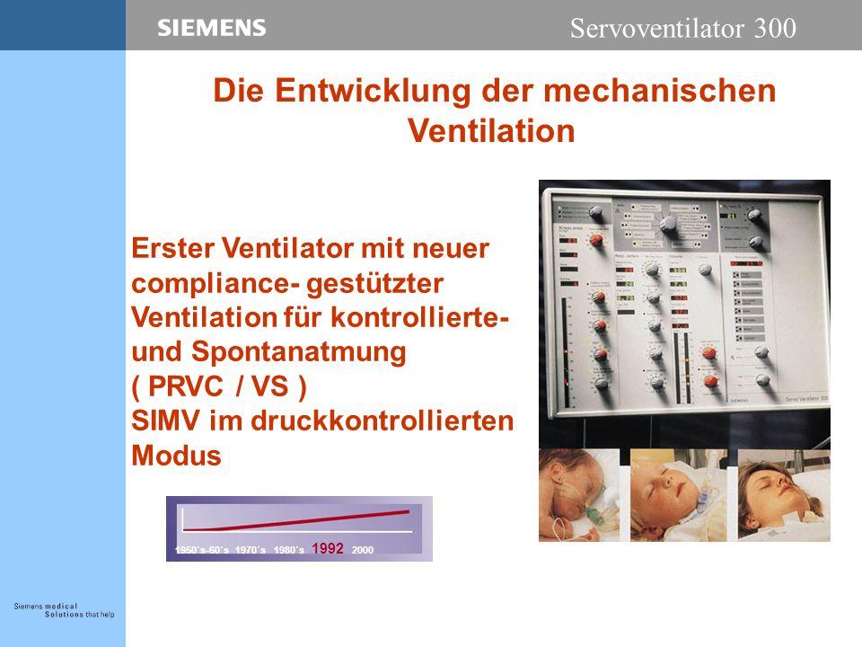 Servoventilator 300 Erster Ventilator mit neuer compliance- gestützter Ventilation für kontrollierte- und Spontanatmung ( PRVC / VS ) SIMV im druckkon
