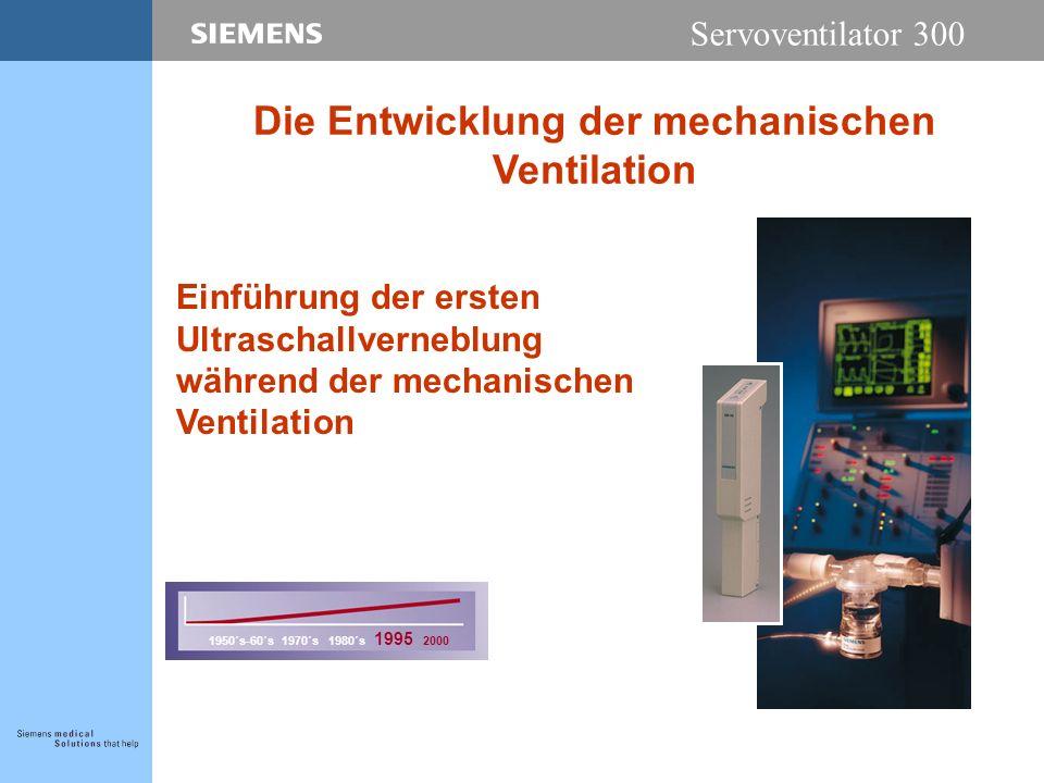 Servoventilator 300 Einführung der ersten Ultraschallverneblung während der mechanischen Ventilation 1950´s-60´s 1970´s 1980´s 1995 2000 Die Entwicklung der mechanischen Ventilation
