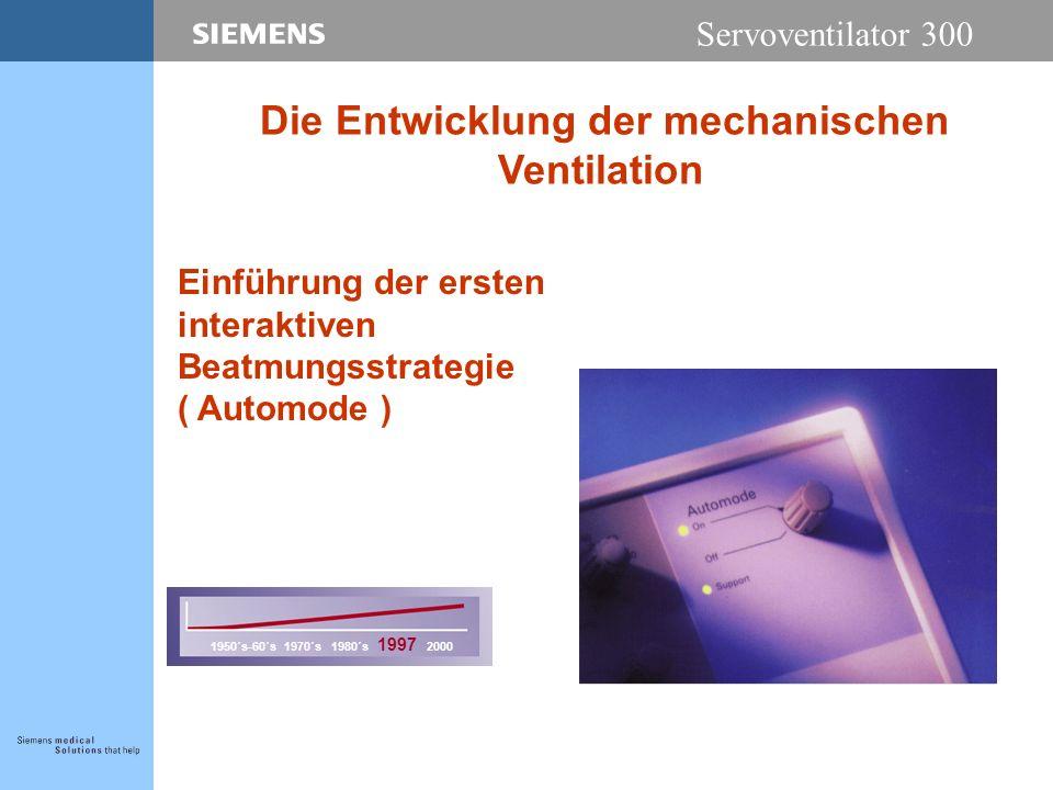 Servoventilator 300 Einführung der ersten interaktiven Beatmungsstrategie ( Automode ) 1950´s-60´s 1970´s 1980´s 1997 2000 Die Entwicklung der mechanischen Ventilation