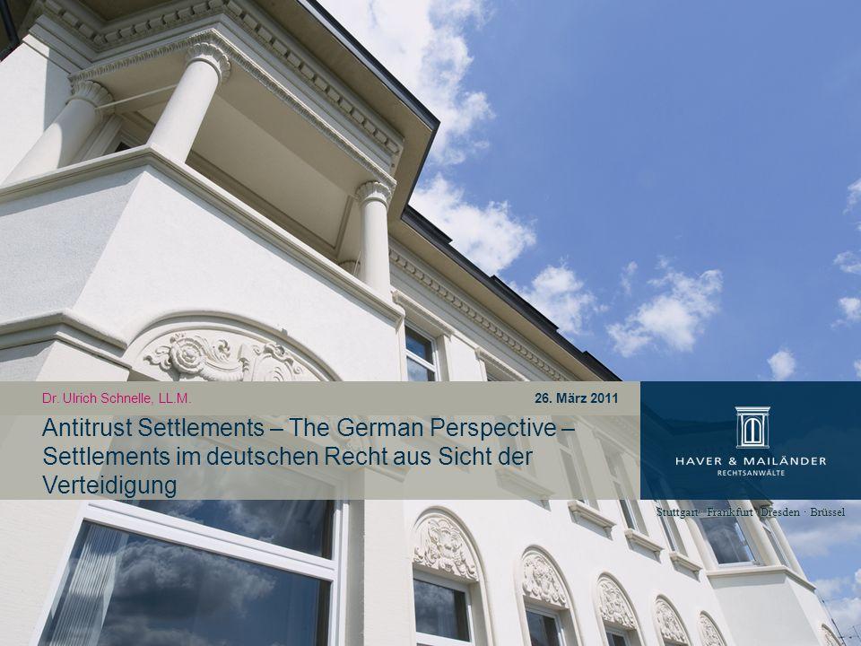 1.Rechtsgrundlagen in Deutschland 2. Ablauf Settlement mit BKartA 3.