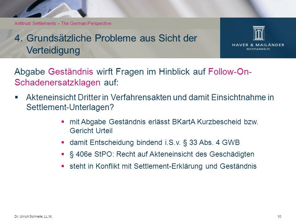 Dr. Ulrich Schnelle, LL.M.10 Abgabe Geständnis wirft Fragen im Hinblick auf Follow-On- Schadenersatzklagen auf: Akteneinsicht Dritter in Verfahrensakt