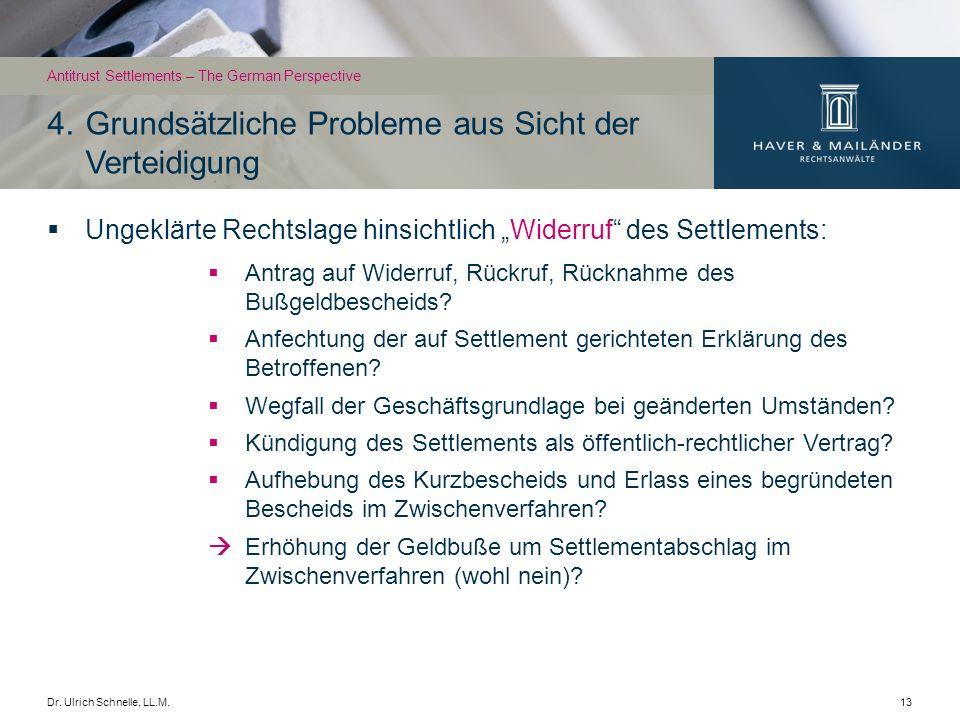 Dr. Ulrich Schnelle, LL.M.13 Ungeklärte Rechtslage hinsichtlich Widerruf des Settlements: Antrag auf Widerruf, Rückruf, Rücknahme des Bußgeldbescheids