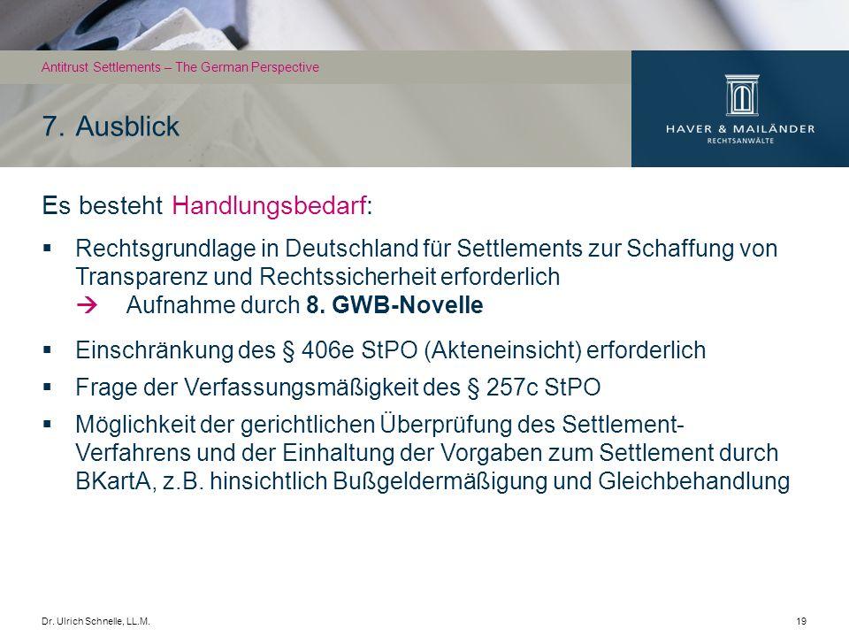 Dr. Ulrich Schnelle, LL.M.19 Es besteht Handlungsbedarf: Rechtsgrundlage in Deutschland für Settlements zur Schaffung von Transparenz und Rechtssicher