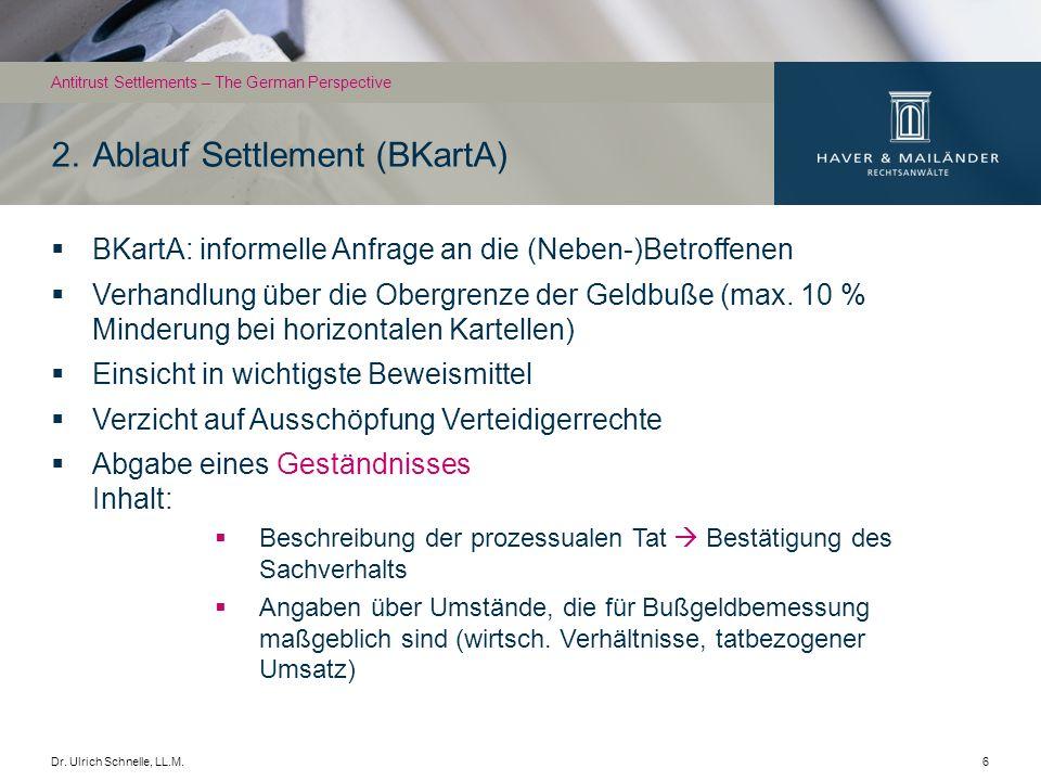 Dr. Ulrich Schnelle, LL.M.6 BKartA: informelle Anfrage an die (Neben-)Betroffenen Verhandlung über die Obergrenze der Geldbuße (max. 10 % Minderung be